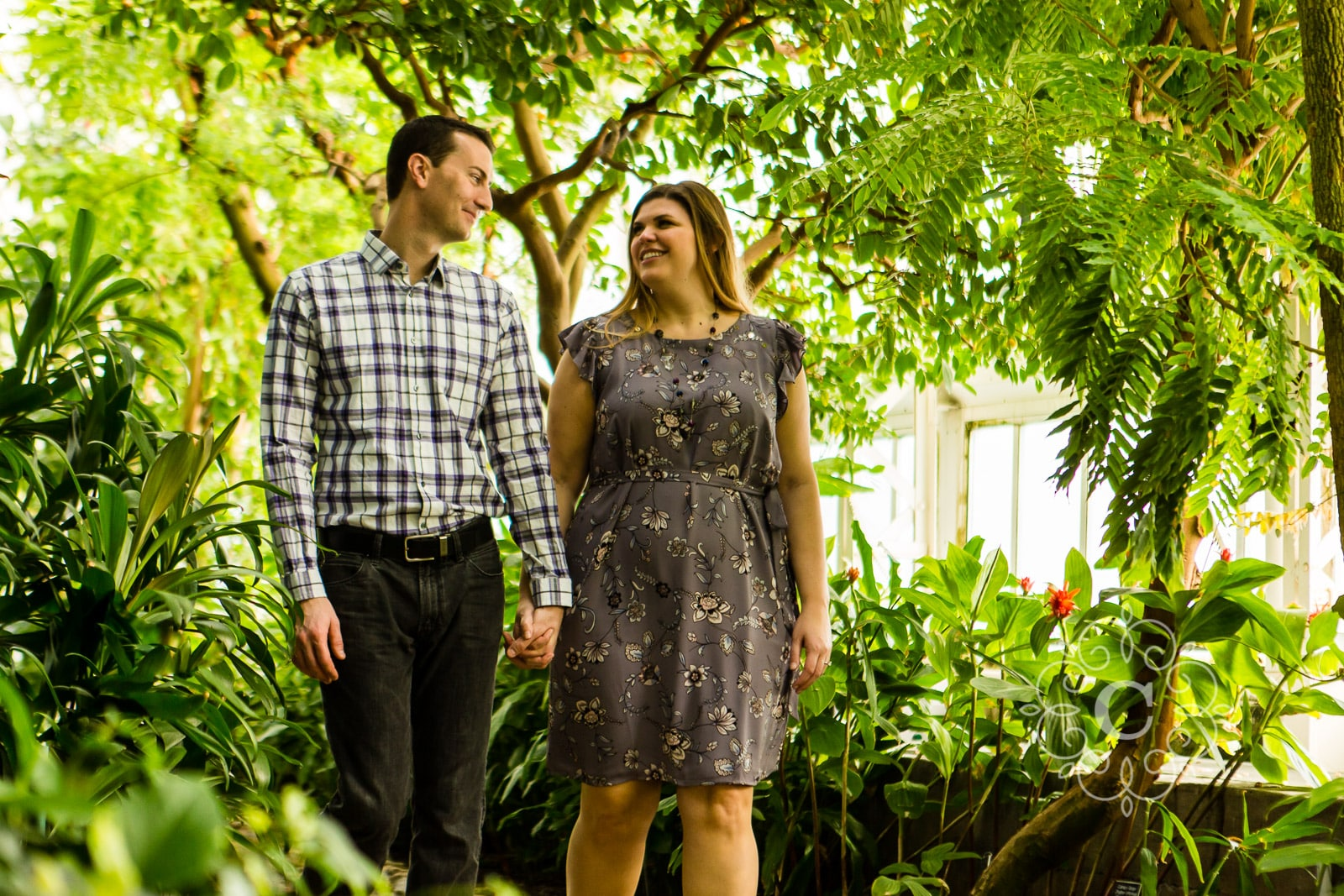 North Garden Como Conservatory Engagement Photo