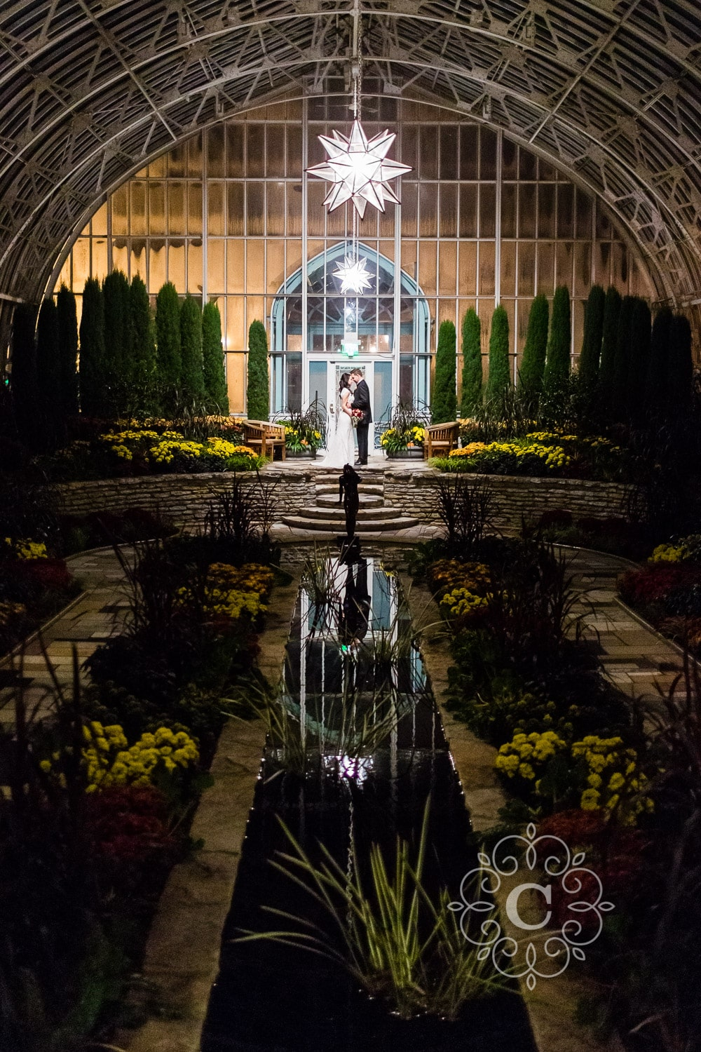 Como Conservatory Sunken Garden Wedding Photo