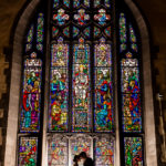 Hamline Church Balcony Stained Glass Wedding Photo