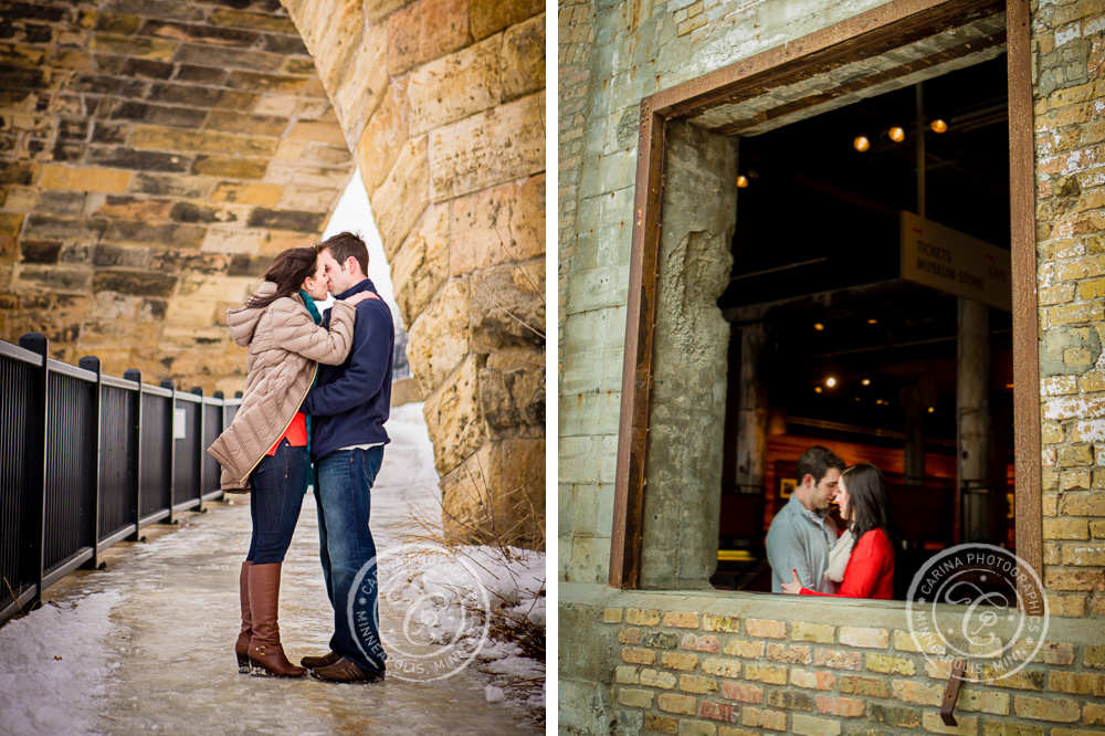Minneapolis Engagement Photographer Mill Ruins Park City Museum Couple
