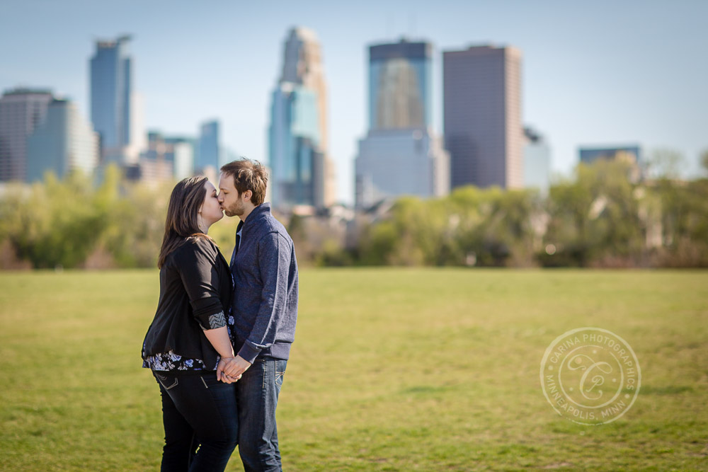 Boom Island Minneapolis MN Engagement Photo