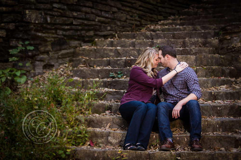 Hidden Falls Stairway St Paul MN Engaged Couple