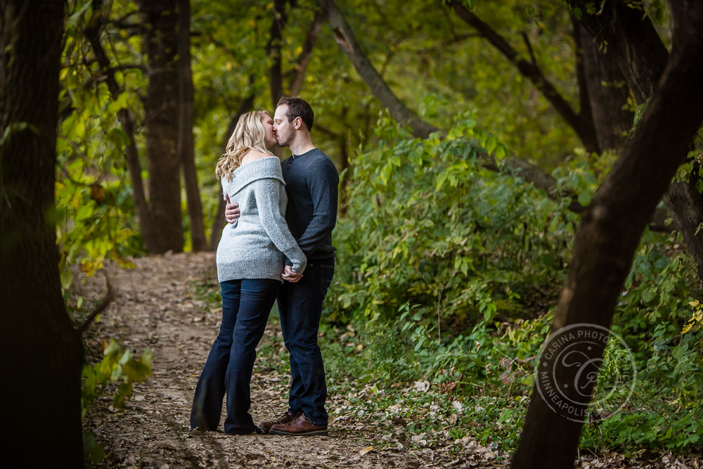 Hidden Falls St Paul MN Walking in Woods Engaged Couple