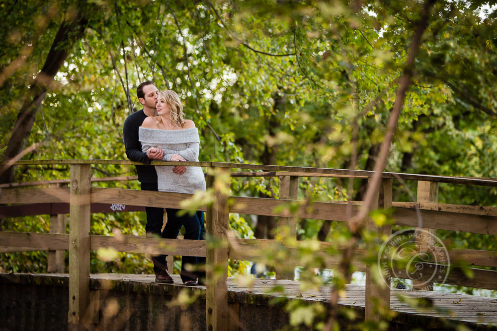 Hidden Falls St Paul MN Bridge Engaged Couple
