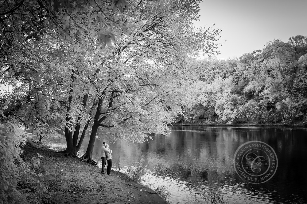 Hidden Falls St Paul MN River Infrared Engaged Couple