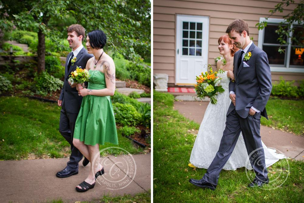 Wedding Party Bride Groom Outdoor Precessional