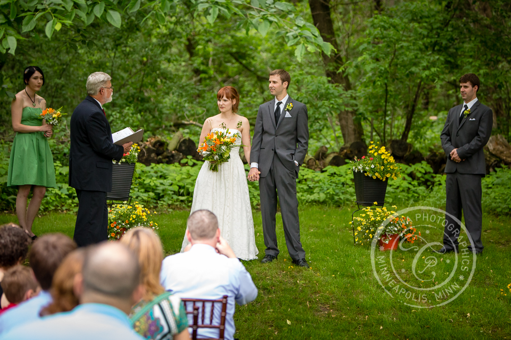 Bride Groom Wedding Ceremony Outdoor Trees