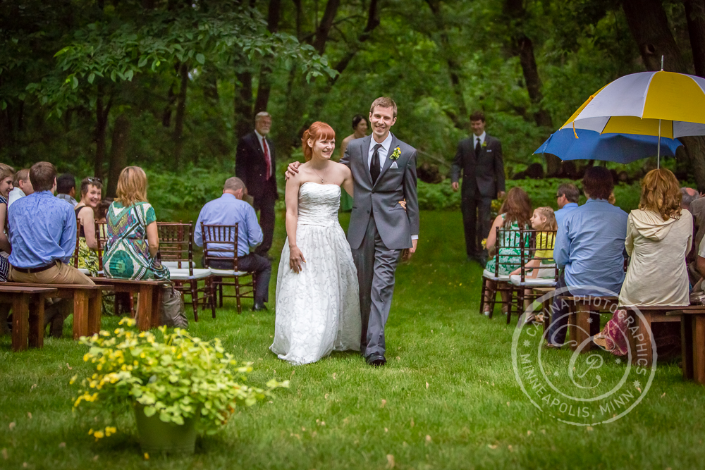 Bride Groom Wedding Ceremony Outdoor Trees Recessional