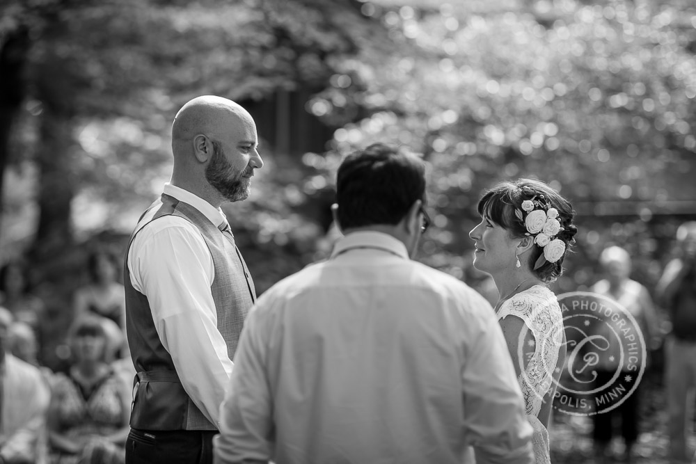 Minneapolis Outdoor Wedding Ceremony Woods Trees River Photo