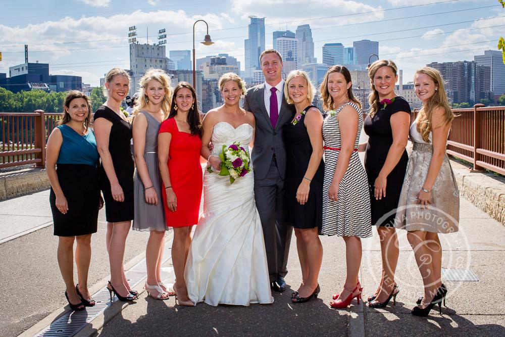 Minneapolis Stone Arch Bridge Wedding Party