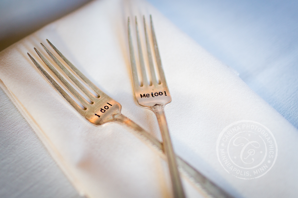 Minneapolis St Anthony Main Event Centre Wedding Reception Table Setting Forks