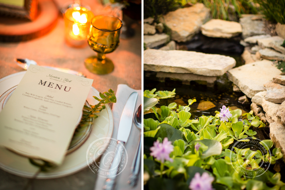 St Paul Garden Wedding Table Menu Pond