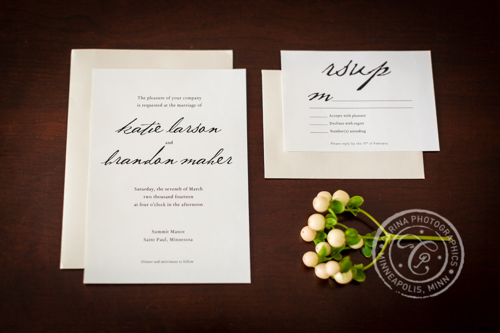St Paul Wedding Invitation Wooden Table