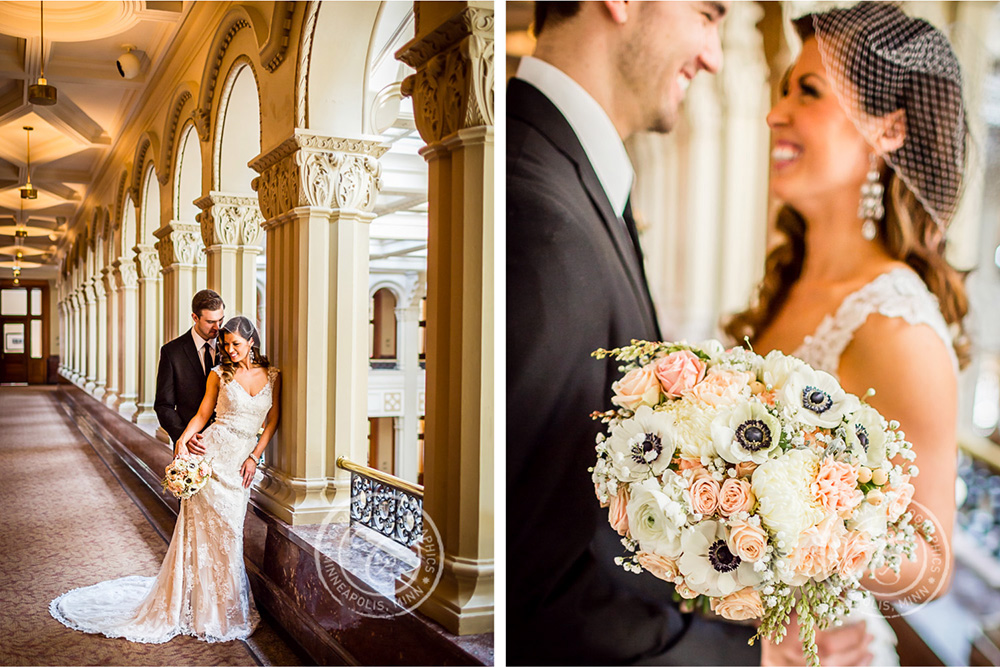 St Paul Wedding Landmark Center Bride Groom Flowers Arches