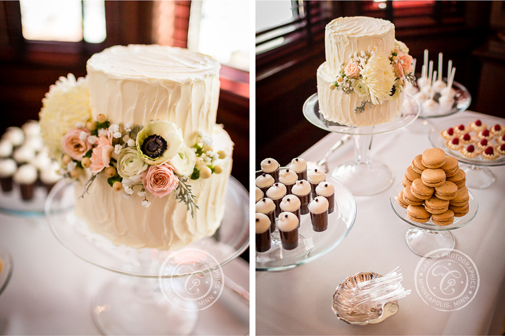 St Paul Wedding Reception Dessert Table Cake Flowers