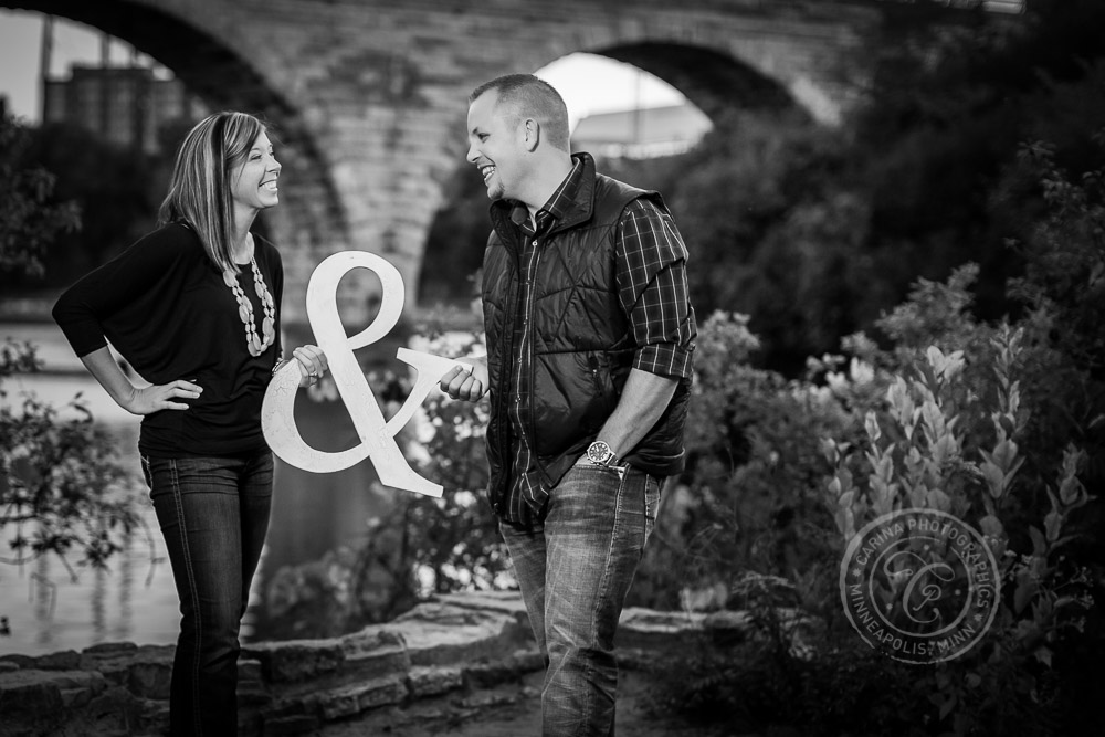 Stone Arch Bridge Father Hennepin Bluffs Park Engagement Photo