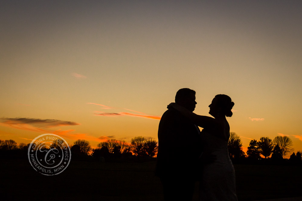 TPC Twin Cities Wedding Bride Groom Sunset Photo